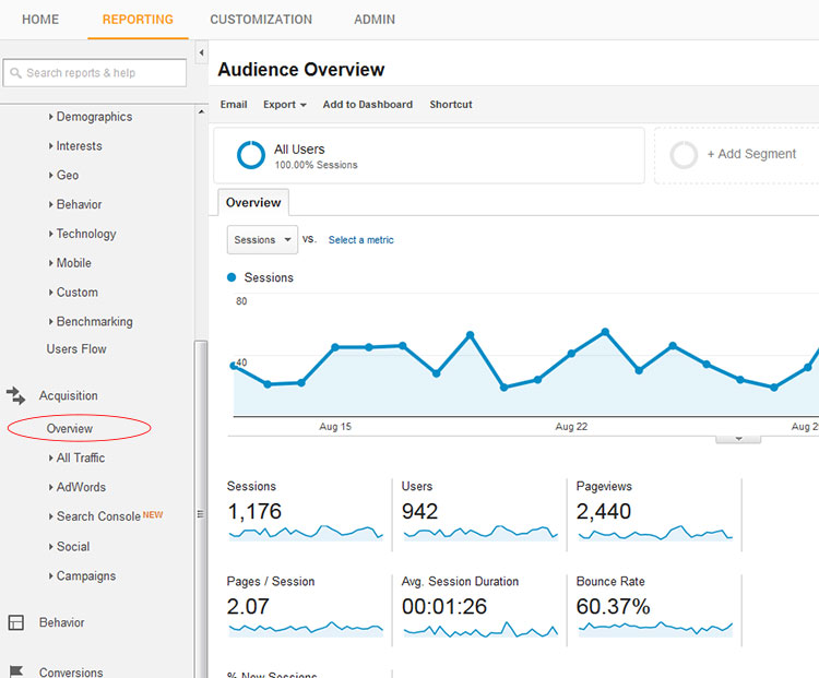 google analytics overview report