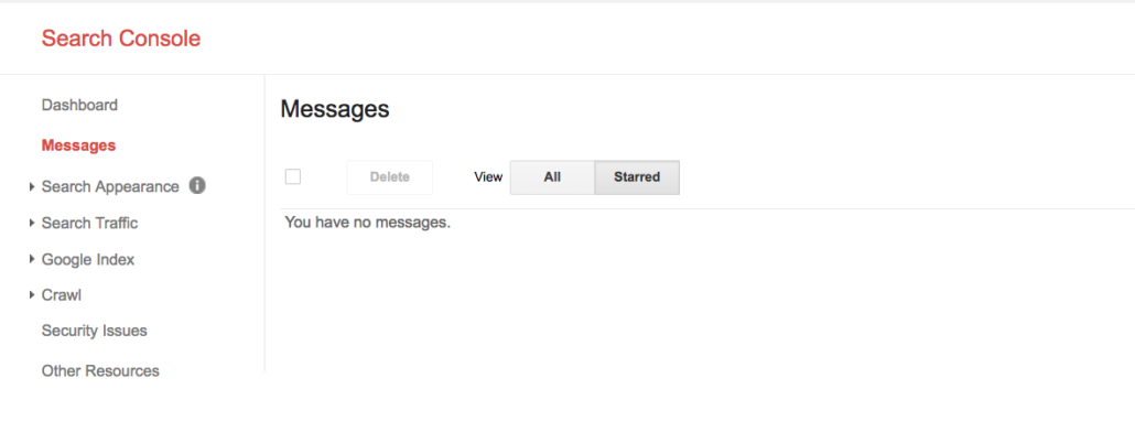 google search console messages