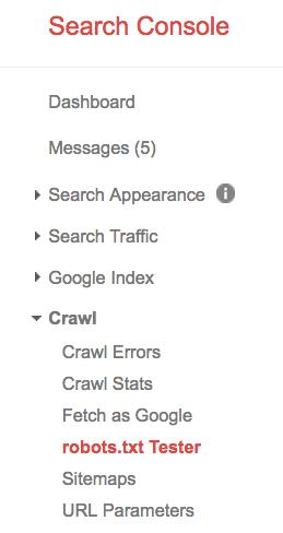 robots.txt google search console