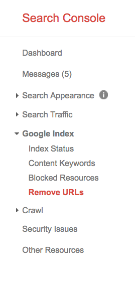 removed urls google search console