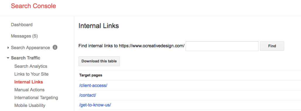 internal linking google search console