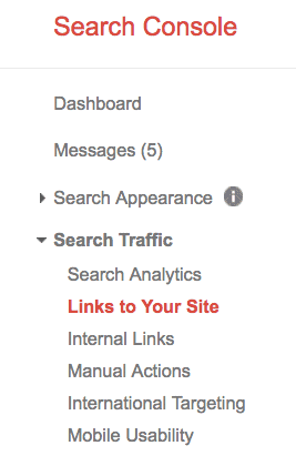 google search console links to your site
